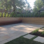Floating IPE bench with cedar planters