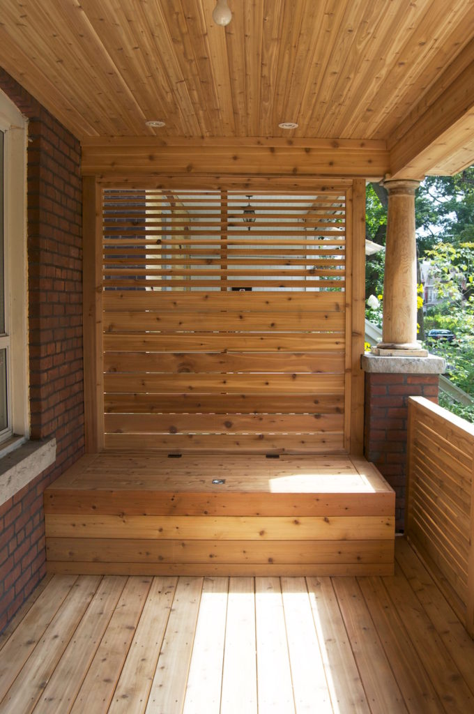 Front porch with built in garbage storage bench(5)
